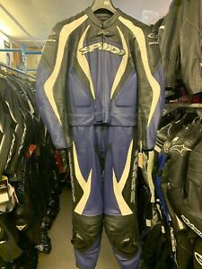 Spidi Ladies 2 Piece Motorcycle Leathers Black Blue White Eu 46 UK 12