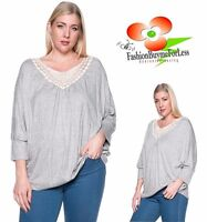 PLUS SZ Gray BOHO Bohemian 3/4 Sleeve Crochet Lace Peasant Sweater Top 1X 2X 3X