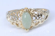 Ladies 10k Yellow Gold Filigree Marquise Cut Jade Solitaire Estate Ring