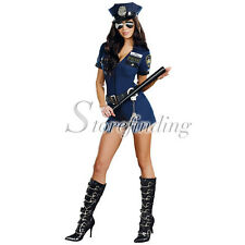 Women Sexy Lingerie Police Cop Uniform Cosplay Costume Outfit Hat Handcuffs Sets