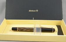 Pelikan M400 Tortoise/Brown & Gold Fountain Pen In Box - 18ct Medium Nib - Mint