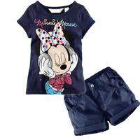 Kids Baby Girls Minnie Short Sleeve Summer T-Shirt Tops+ Shorts Pants Set Outfit
