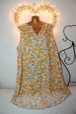 NEW FLOWING LIGHT COOL YELLOW WHITE TUNIC TOP SUMMER DRESS 24 £49 HOLIDAY PARTY