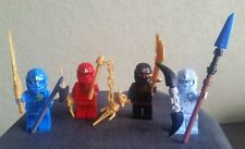 Lego Ninjago NRG Cole, NRG Kai, NRG Jay, NRG Zane with Golden Dragon Sword/ Weap