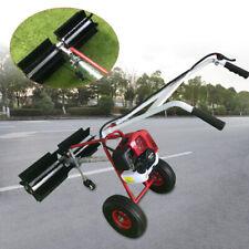 43cc 2 Stroke Handheld Gasoline Power Sweeper Broom Driveway Cleaning Air Tire