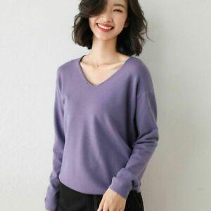 Women's Slim Knitted V-Neck Soft Jumper Pullover Soft Sweater Winter