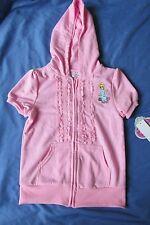 New Girl's Disney Princess Cinderella Pink Hooded Sweatshirt Short Sleeve Size 6