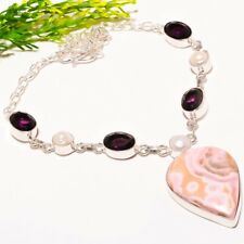 """Pink Chalcite, Amethyst, Pearl Gemstone Fashion Jewelry Necklace 18"""" SN-282"""
