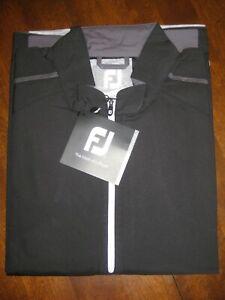 NWT Footjoy Sport Long Sleeve 1/4 Zip Windshirt - Black and Grey - Size L