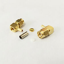 10X SMA male crimp RF coax connector for RG316 RG174 cable Right Angle RA gold