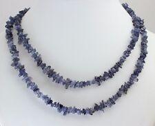Natur Iolith (Wasser Saphir) Kette Blau Splitter endlos 90 cm Edelsteine Collier