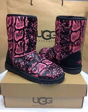 UGG AUSTRALIA CLASSIC PINK AND BLACK EXOTIC REPTILE CALF HAIR BOOTS SIZE 7 US