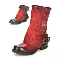 Women High Top 100% Leather Chunky Mid Heel Retro Cowboy Ankle Boots Size 34-42