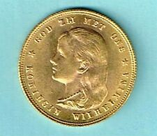 1897 NETHERLANDS Kingdom Queen WILHELMINA long hair rare Gold 10 Gulden Coin.