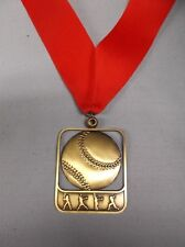 """gold Softball medal with wide red neck drape 2"""" x 2 1/2"""" size"""