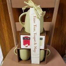 Classic STARBUCKS Green Teapot Tazo Tea Organic Red Apple & Zen Green Two Mugs