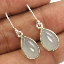 2.7cm 925 Sterling Silver 1 Pair Earrings Natural AQUA CHALCEDONY Pear Gemstones