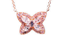 Real 1.05ct Natural Fancy Pink & Blue Diamond Pendant Necklace GIA 18K Butterfly