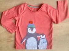 Mini Boden 18-24 month girl boy top t-shirt applique penguins long christmas