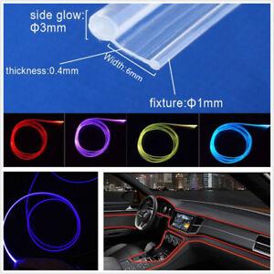 5M 3mm Transparent Skirt Side Glow PMMA Fiber Optic Cable For Car Interior Light