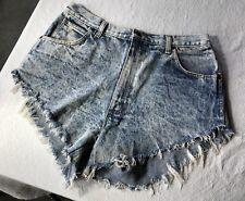 Vtg Light Wash Cut Off High Waisted Jean Shorts Bristol Blues 34 W16/L4/R12.5 💗