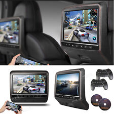"2X 9"" Hdmi Car Video Active Headrest Plug On Monitor Dvd Player Game Usb Leather"