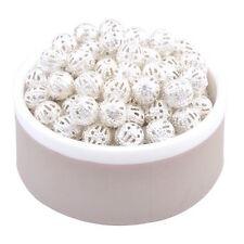 30 perles intercalaires filigranes couleur plaqué argent 6 mm
