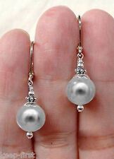 Pretty 10mm Natural Grey Round South Sea Shell Pearl Earrings AAA+