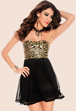 Black Gold Metallic Cheetah Sheer Lace Chiffon Cocktail Mini Dress Prom 2803