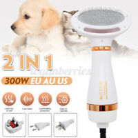 Pet Hair Dryer 2 in 1 Comb Brush Dog Cat Grooming Heater Adjustable Temp Blower