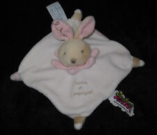Doudou & Compagnie carré plat Lapin blanc beige rose Tatoo
