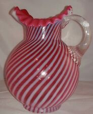 Vintage Fenton Opalescent Cranberry Optic Swirl Water Pitcher, Pink and White St
