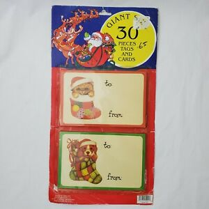 Vintage Giant Christmas Gift Tags Puppy Dog Cat Kitten Present Topper Label Huge