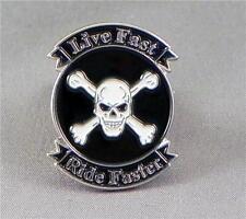 LIVE FAST RIDE FASTER BIKER ENAMEL PIN BADGE LAPEL