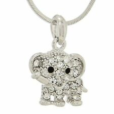 ELEPHANT MADE WITH SWAROVSKI CRYSTAL GOOD LUCK NEW PENDANT NECKLACE CHAIN