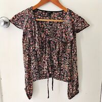 Forever 21 Womens Blouse Size S Black Pink Floral Crop Peasant Top (G)