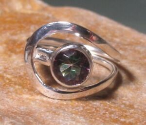Sterling 925 silver everyday cut mystic topaz gemstone rings. Various sizes.