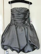 Yasmin by House of Dynasty Silver Grey Short Prom Dress with Boned Bodice Sz 10
