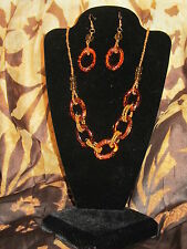 PIER ONE NWT $30 India gold & amber bead women's necklace & earrings set