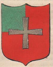 1865 Stemma di Ponte in Valtellina Sondrio litografia acquarellata