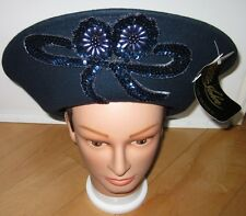 New Mr John Signature Navy Blue Wool Fashion Church Hat Dress Tea Hats Arlin