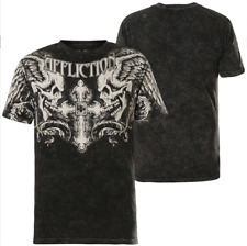 AFFLICTION Live Fast Winged Up A20130 Short Sleeve Skull Tee US Men's Size 2XL