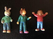 """3 Pbs Kids Arthur pvc figures cake toppers Mini Dolls 1"""" Lot Rare"""