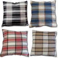 "Luxury Woven Tartan Check Stripe Cushion Cover  Black, Blue, Lime, Red 17"""