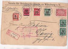 Einschreiben 1923 Würzburg Danzig R-Zettel Inflation 7 Briefmarken Reklamemarken