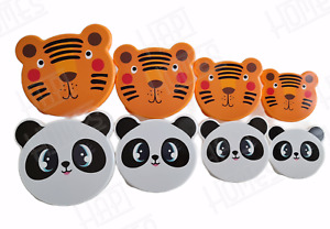 Set of 4 Animal Tiger Panda Lunch Boxes Snack Kids Food Storage Picnic Container