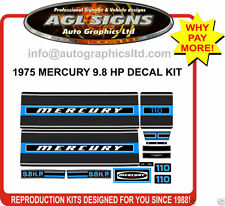 1975  MERCURY 9.8 hp 110 Outboard decal set   reproductions  7.5 hp 75