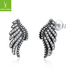 Feather Phoenix-Wing Stud Earring Jewelry Authentic 925 Sterling Silver Majestic
