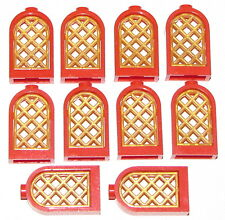 LEGO LOT OF 10 NEW RED ROUND WINDOWS WITH PEARL GOLD LATTICE CASTL