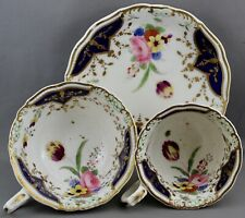 VINTAGE UNMARKED TEACUP/COFFEE CUP & SAUCER-GOLD/NAVY BLUE/FLOWERS  M 210